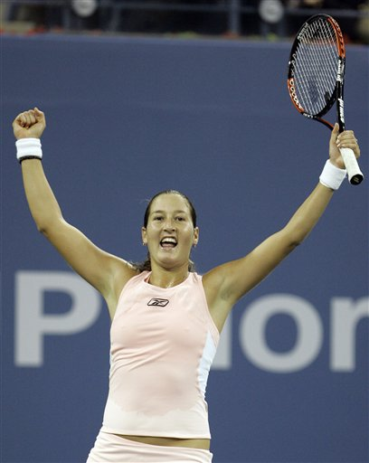 Shahar Peer of Israel celebrates her win over Nicole Vaidisova of the Czech Republic at the US Open tennis tournament in New York on Saturday.