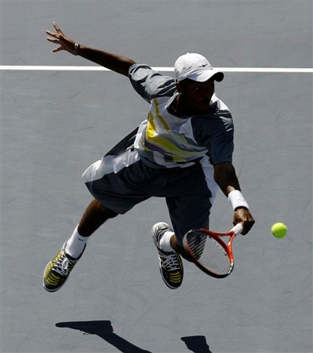Donald Young of the United States returns a shot to Feliciano Lopez of Spain during their match at the US Open tennis tournament in New York on Saturday.