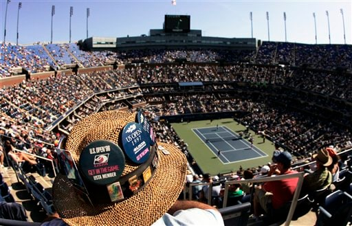 Jeff Schafran from Albany, NY, watches the match between Venus Williams of the United States and Ana Ivanovic of Serbia in the Arthur Ashe Stadium at the US Open tennis tournament in New York on Sunday.