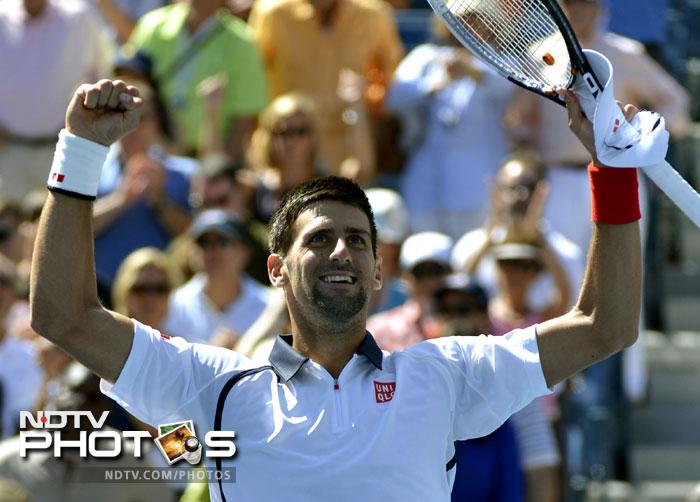 Novak Djokovic came from being down one set to beat David Ferrer and book his place in the US Open 2012 final against Andy Murray. (AFP Photos)