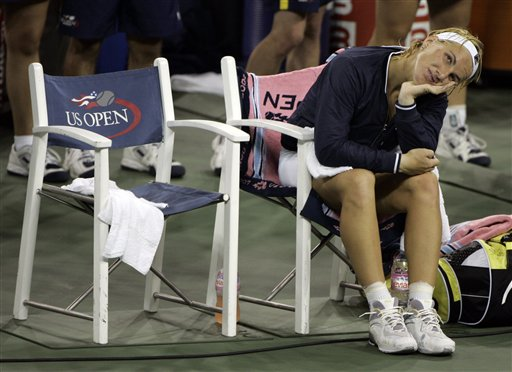 Svetlana Kuznetsova of Russia looks at the scoreboard after her two set loss to Justine Henin of Belgium in the women's finals at the US Open tennis tournament in New York on Saturday.