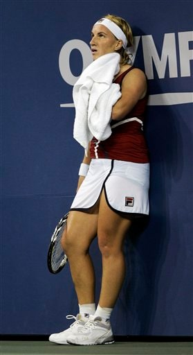 Svetlana Kuznetsova of Russia watches a replay during a break in her women's finals match against Justine Henin of Belgium at the US Open tennis tournament in New York on Saturday.