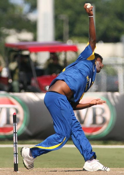 Sri Lankan bowler Thissara Perera bowls against New Zealand during the Pearls Cup T20 Series game being held at the Central Broward Regional Park in Fort Lauderdale. (AP Photo)