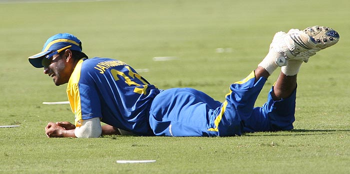 Sri Lanka's Chinthaka Jayasinghe reacts after a misfield against New Zealand during the Pearls Cup T20 Series game being held at the Central Broward Regional Park in Fort Lauderdale. (AP Photo)