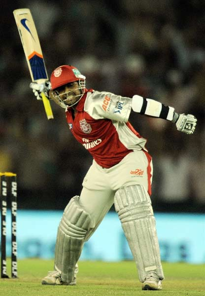 The Super Kings must not have had a strategy for Valthaty. A relatively unknown player coming into the match who scored all of 6 in the match before, Valthaty's century was a brutal call for attention, uncharacteristic of his otherwise genial persona. (AFP PHOTO)