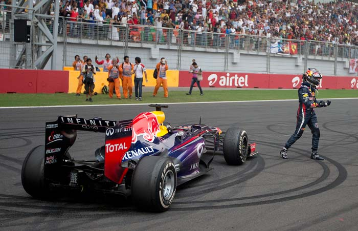 """""""Unbelievable day,"""" said the jubilant Vettel over the team radio. """"We did it! Yes! Yes!"""""""