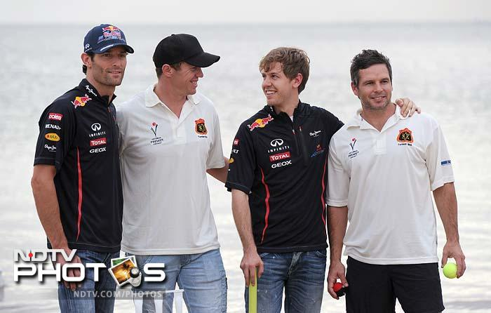 The two Red Bull drivers and Siddle were also joined by Australia all-rounder Brad Hodge.