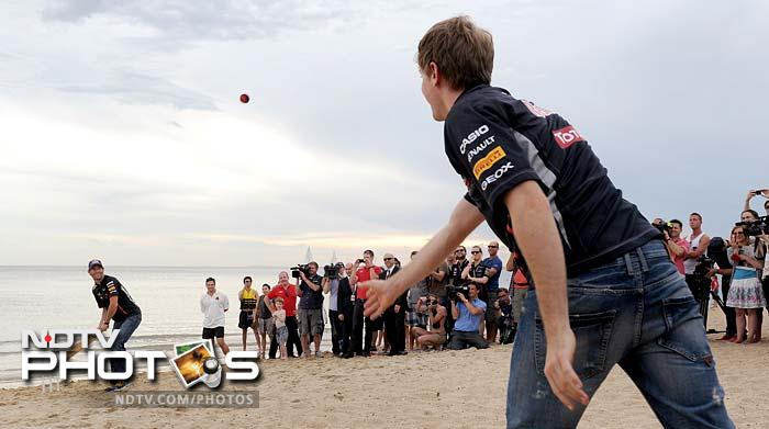 Vettel then tried his hand at bowling.