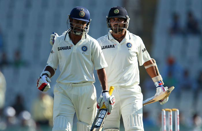 Resuming on an overnight score of 83, Vijay (right) lost Shikhar Dhawan as a partner early. (Image courtesy: BCCI)