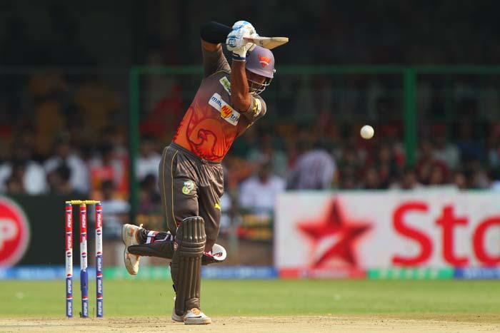 Hyderabad skipper Kumar Sangakara tried to put up a good show but got caught by Bangalore's skipper Virat Kohli after scoring 23 runs off 24 deliveries.(BCCI Image)