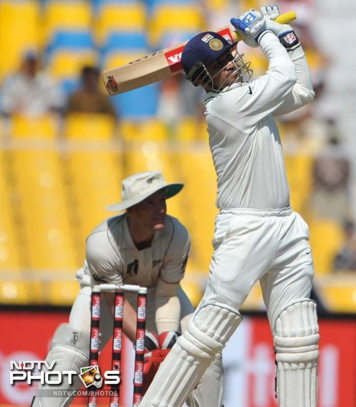 <b>173 vs New Zealand. Ahmedabad 2010</b> <br> <br> Courtesy this one from Viru, and a century from Rahul Dravid, India posted a solid total at Motera. That that match will be remembered more for Harbhajan Singh who scored 115 to save the match for India!