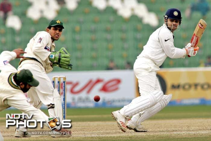 <b>254 vs Pakistan. Lahore 2006</b> <br> <br> With four centurions in their total of 679, Pakistan felt good at the Gaddafi Stadium. Sehwag replied with a 247-ball 254, while Dravid frustrated the Pakistan bowling with a 233-ball 128.