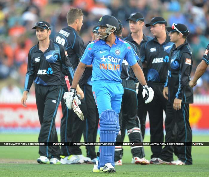 New Zealand inflicted a 15-run defeat on India to take a 2-0 series lead. They also cost India the top spot in ODI rankings. (AP/AFP Photos)