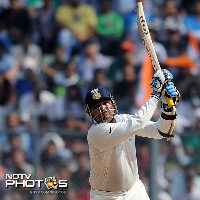 The opening partnership was worth 67 runs as Virender Sehwag unleashed himself with three boundaries and a six.