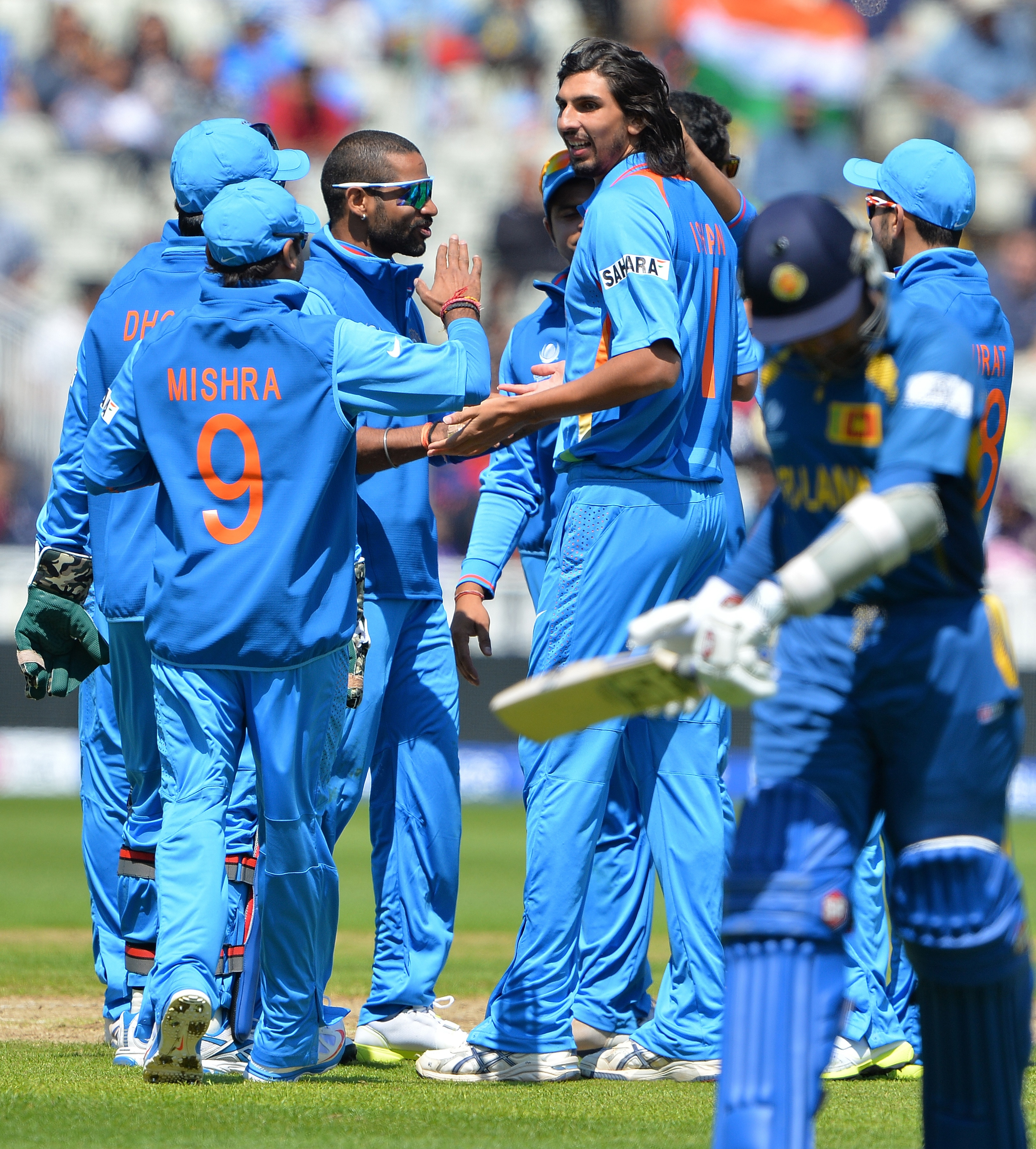 Ishant Sharma was the first Indian bowler to strike as his loose ball on the pads was uppishly flicked by Mahela Jayawardene to Irfan Pathan at short fine-leg.
