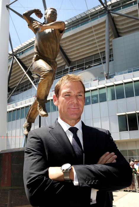 "Warne joked that the statue was a ""lifelike"" memento of his time in Test cricket. ""It's 300 kilos that statue, it's pretty lifelike for when I played,"" said Warne, who drastically slimmed down after he began dating his now-fiancee Liz Hurley."