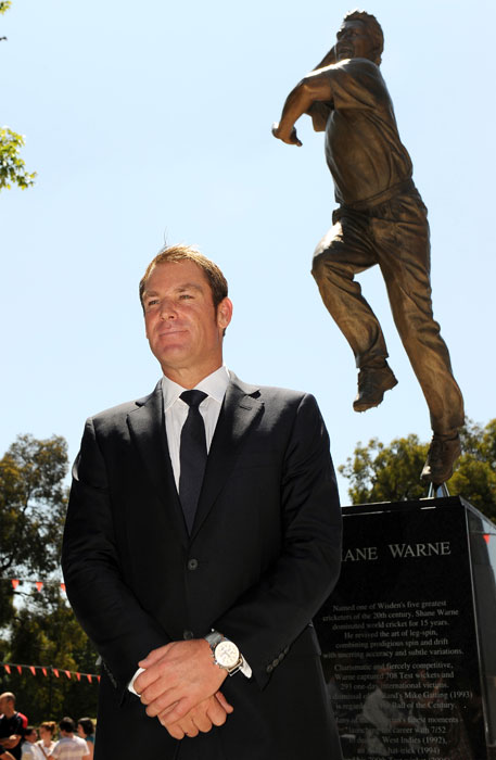 The 2.5-metre tall likeness by sculptor Louis Lauman depicts leg-spinner Warne in full flight and joins cricketers including Sir Donald Bradman, Keith Miller and Dennis Lillee in having his statue erected on the Parade of Champions outside the MCG.