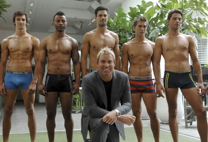 Australian cricketing legend Shane Warne revealed his secret weapon as he spins out his career in India - his own range of underpants. (AP Photo)