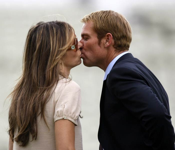 "There are no prizes for guessing who Shane Warne's motivation must be. ""@ElizabethHurley not the whip again if i have a chip !! standing on my back with those 8 inch heels whilst you make me do 200 push ups-hurts"", wrote Warne on Twitter."