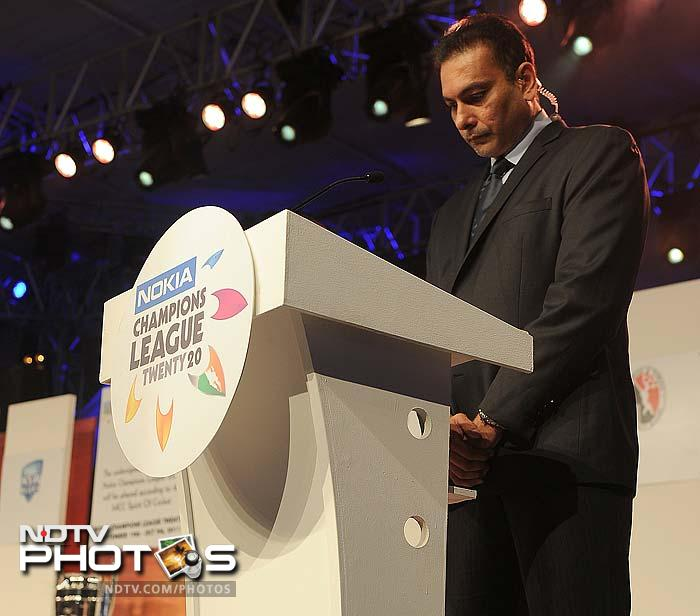 Ravi Shashtri gets the event underway as captains of all the participating teams were called on stage.