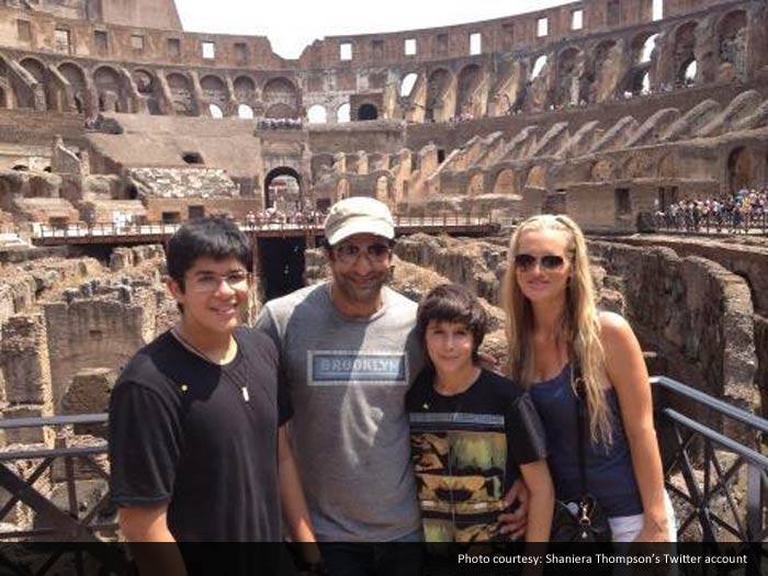 A picture-perfect family snap from a holiday in Rome with Wasim's sons Tahmoor and Akbar.