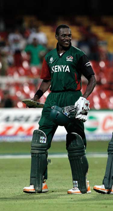 Collins Obuya who finished on 97 not out in the 2011 ICC World Cup Group A match between Australia and Kenya at M. Chinnaswamy Stadium in Bangalore. (Getty Images)