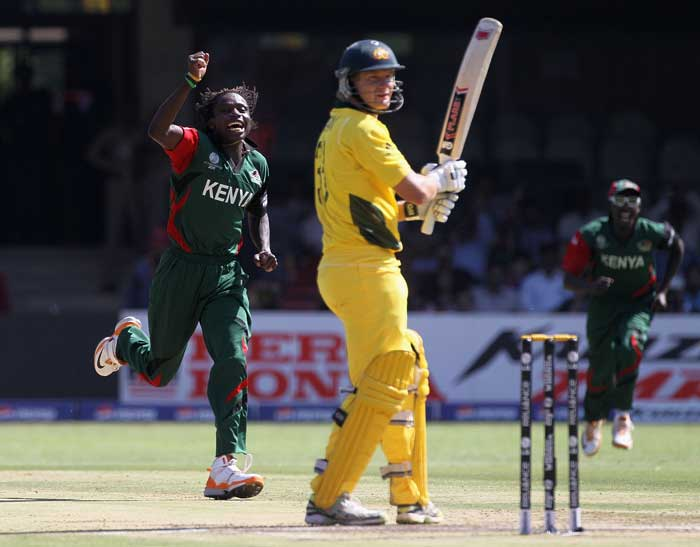 Nehemiah Odhiambo celebrates after taking the wicket of Shane Watson during the 2011 ICC World Cup Group A match match between Australia and Kenya at M. Chinnaswamy Stadium in Bangalore. (Getty Images)