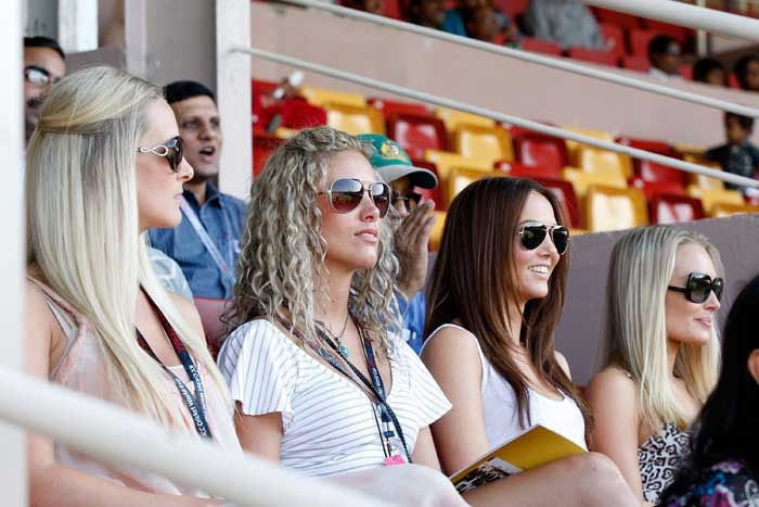 Some of the wives and girlfriends of the Australian players watching from the stands during in the 2011 ICC World Cup Group A match between Australia and Kenya at M. Chinnaswamy Stadium in Bangalore. (Getty Images)