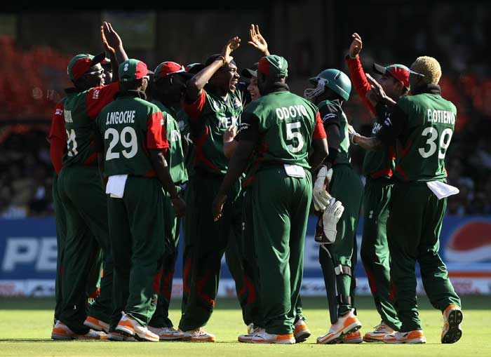 Collins Obuya celebrates with teammates after taking the wicket of Ricky Ponting during the 2011 ICC World Cup Group A match match between Australia and Kenya at M. Chinnaswamy Stadium in Bangalore. (Getty Images)