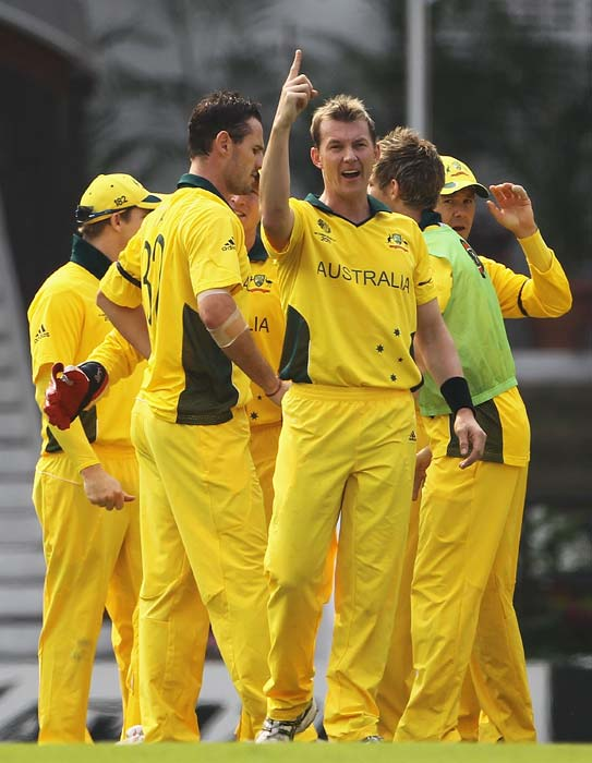 Brett Lee celebrates the wicket of Brendon McCullum after he was caught by Jason Krejza during the 2011 ICC World Cup Group A match between Australia and New Zealand at Vidarbha Cricket Association Ground in Nagpur. (Getty Images)