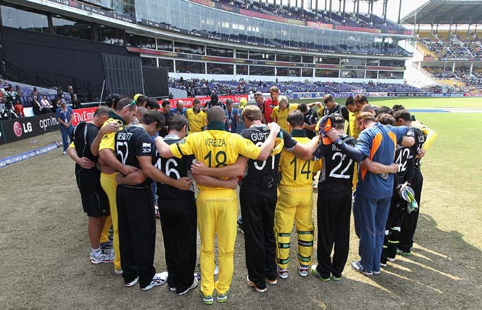The New Zealand and Australian teams come together ahead of the second innings in a show of support for the memory of the victims of the Christchurch Earthquake during of the 2011 ICC World Cup Group A match between Australia and New Zealand at Vidarbha Cricket Association Ground in Nagpur. (Getty Images)