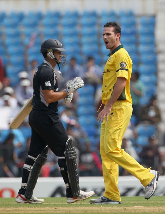 Shaun Tait celebrates after taking the wicket of Ross Taylor during the 2011 ICC World Cup Group A match between Australia and New Zealand at Vidarbha Cricket Association Ground in Nagpur. (Getty Images)