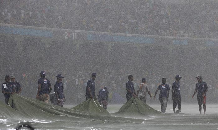 Torrential rain in Colombo led to the match between Australia and Sri Lanka finish without any result. Ground staff covered the outfield but it continued to rain heavily, ruling out any chance of play between the two finalists of the 2007 World Cup. (Getty Images)
