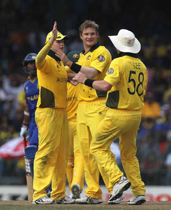 Steven Smith is congratulated by teammates after running out Mahela Jayawardene during the 2011 ICC World Cup Group A match between Australia and Sri Lanka at R. Premadasa Stadium in Colombo. (Getty Images)
