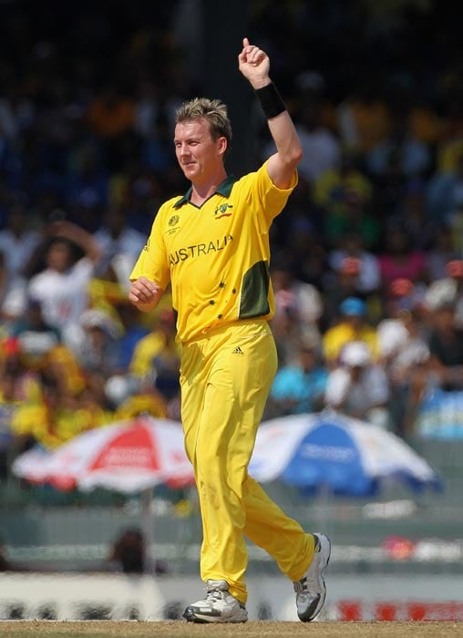 Brett Lee celebrates the wicket of Upul Tharanga during the 2011 ICC World Cup Group A match between Australia and Sri Lanka at R. Premadasa Stadium in Colombo. (Getty Images)