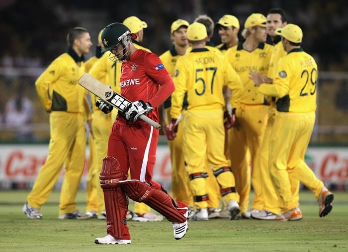 Charles Coventry leaves the field after being dismissed during the 2011 ICC World Cup Group A match between Australia and Zimbabwe at Sardar Patel Stadium in Ahmedabad. (Getty Images)