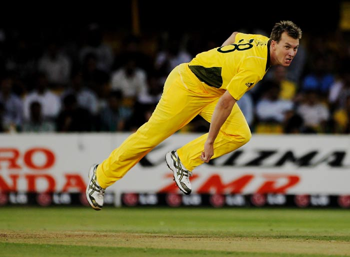 Brett Lee bowls during the 2011 ICC World Cup Group A match between Australia and Zimbabwe at the Sardar Patel Stadium in Ahmedabad. (Getty Images)