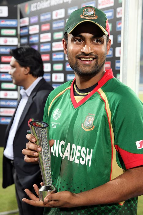 Tamim Iqbal, Man of the Match winner in the 2011 ICC World Cup Group B match between Bangladesh and Ireland at Sher-e-Bangla National Stadium in Dhaka. (Getty Images)
