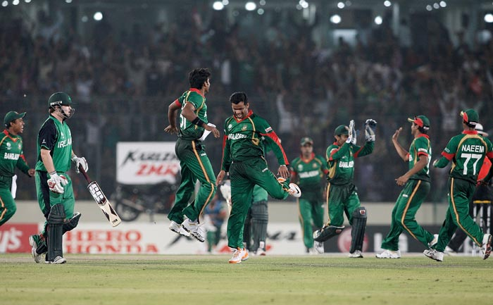 Bangladesh players celebrate after the stumping of Paul Stirling during the 2011 ICC World Cup Group B match between Bangladesh and Ireland at the Sher-e-Bangla National Stadium in Dhaka. (Getty Images)