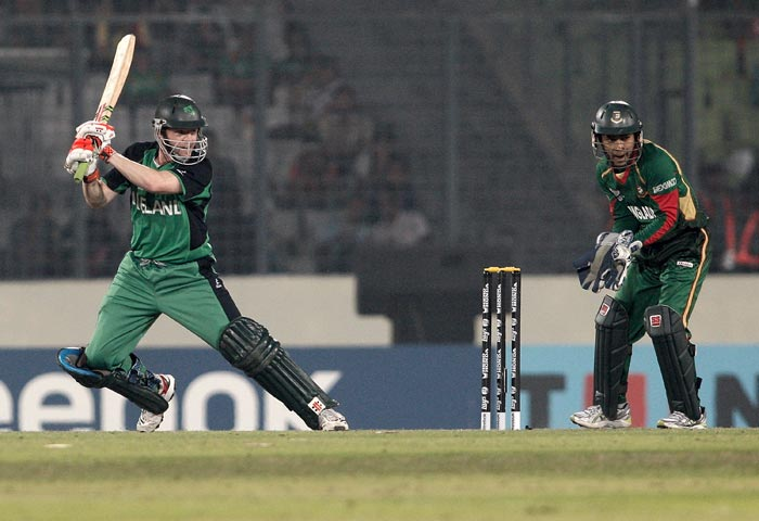 Niall O'Brien is bowled during the 2011 ICC World Cup Group B match between Bangladesh and Ireland at Sher-e-Bangla National Stadium in Dhaka. (Getty Images)