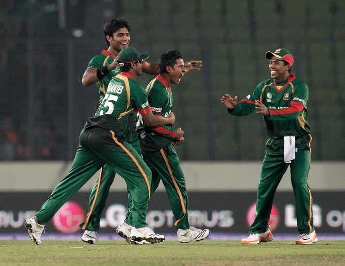 Mohammad Ashraful celebrates his caught and bowled of Ed Joyce during the 2011 ICC World Cup Group B match between Bangladesh and Ireland at Sher-e-Bangla National Stadium in Dhaka. (Getty Images)