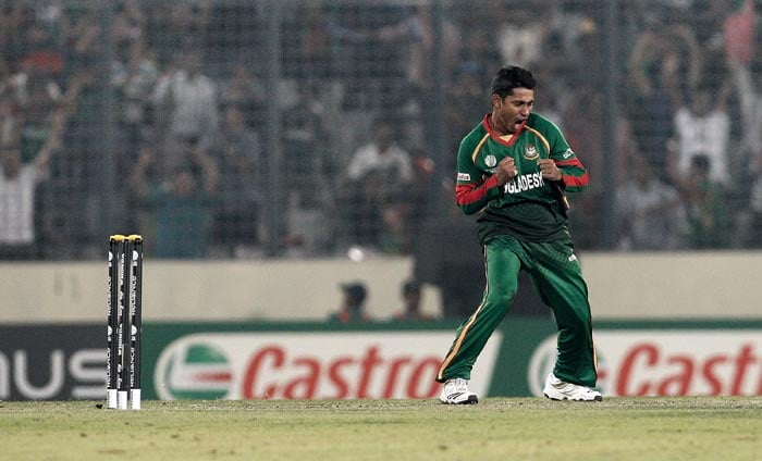Mohammad Ashraful celebrates his dismissal of Andrew White during the 2011 ICC World Cup Group B match between Bangladesh and Ireland at Sher-e-Bangla National Stadium in Dhaka. (Getty Images)