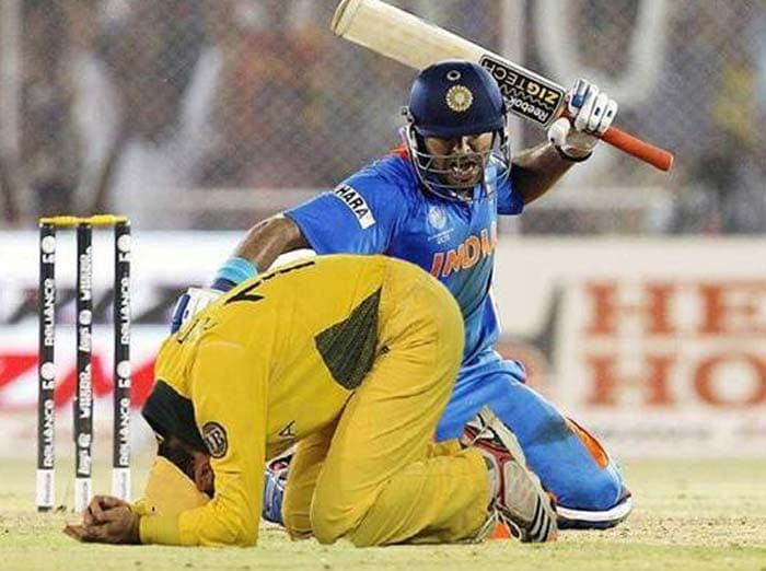 """After the Men in Blue knocked Australia out of the World Cup, NDTV.com surfers sent in their light-hearted take on India's win along with images. Here is a collection of some of them.<br><br>For this pic, our excited surfer says, """"Yuvraj spanks Aussies""""."""