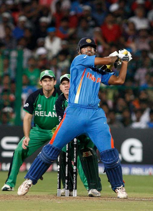 Yusuf Pathan plays a shot during the Group B match of the ICC World Cup between India and Ireland at M. Chinnaswamy Stadium in Bangalore. (Getty Images)