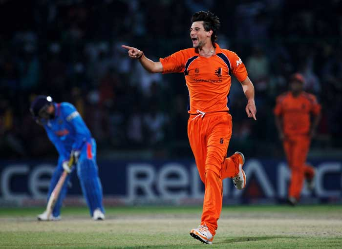 Pieter Seelaar celebrates after taking the wicket of Virender Sehwag during the 2011 ICC Cricket World Cup Group B match between India and the Netherlands at Feroz Shah Kotla stadium in New Delhi. (Getty Images)