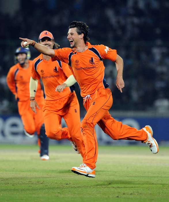 Pieter Seelaar celebrates the wicket of Yusuf Pathan during the ICC World Cup match between India and the Netherlands at the Feroz Shah Kotla Stadium in New Delhi. (AFP Photo)