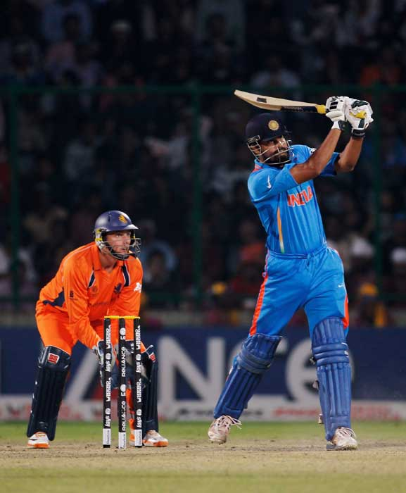 Yusuf Pathan bats during the 2011 ICC Cricket World Cup Group B match between India and the Netherlands at Feroz Shah Kotla stadium in New Delhi. (Getty Images)