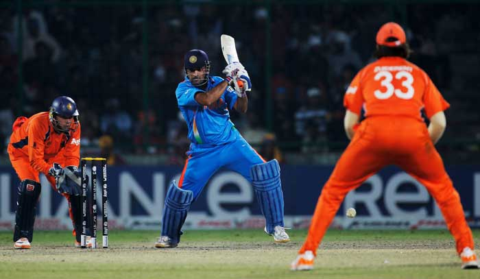 MS Dhoni bats during the 2011 ICC Cricket World Cup Group B match between India and the Netherlands at Feroz Shah Kotla stadium in New Delhi. (Getty Images)