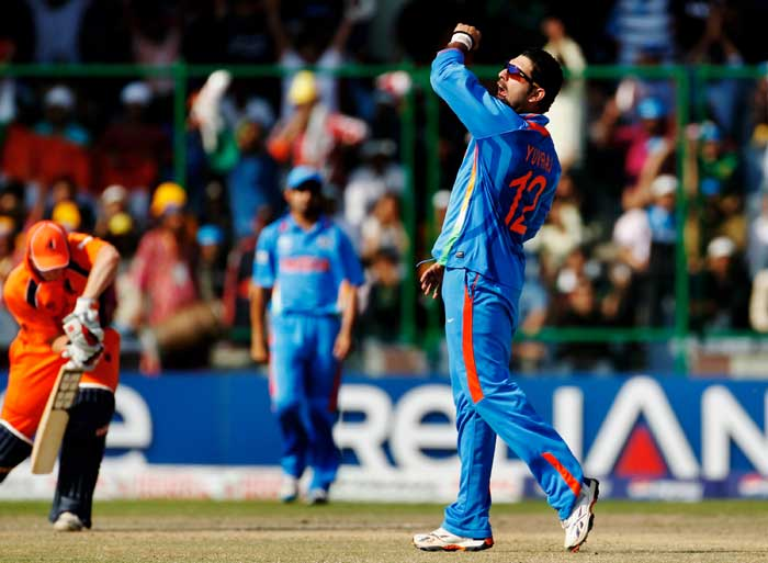 Yuvraj Singh celebrates the wicket of Wesley Barresi during the ICC Cricket World Cup Group B match between India and the Netherlands at Feroz Shah Kotla Stadium in New Delhi. (Getty Images)