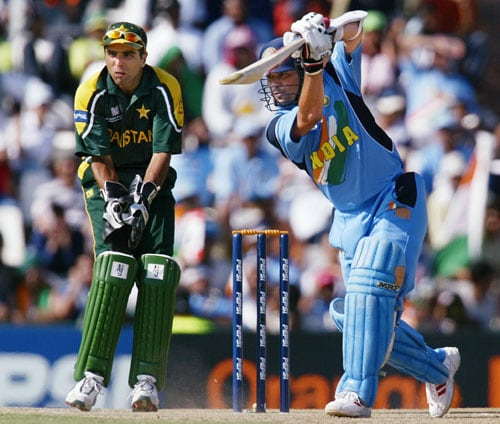 The arch-rivals were playing each other after a gap of three years. And the relations between the two countries had turned sour after the Kargil war. On March 1, the India-Pakistan match became the virtual final for the fans from both the sides. <br><br>Before the match, Pakistan fast bowler Shoaib Akhtar sent out loud warnings to Sachin Tendulkar. When prodded for a reply, the master batsman said he would let his bat do the talking. And his bat roared in Centurion. <br><br>Needing 274 runs to win, India were off to a flying start with Sehwag and Sachin firing all cylinders. The Indian openers thrashed the high-profile Pakistan bowlers (Wasim Akram, Waqar Younis, Shoaib Akhtar and Abdul Razzaq) all over ground. But Akhtar's nightmare came true when Sachin slashed one of his deliveries over the point region for a huge six. With that shot Sachin punctured Pakistan's confidence and paved the way for India's victory. <br><br>Though Sachin fell short of his well-deserved century by 2 runs, his knock of 98 runs off 75 balls is widely regarded as one of his best ODI innings. (<b>Also Read:</b> <a href='http://sports.ndtv.com/world-cup-2011/blogs/garima-bharti/item/167665-when-world-cup-played-cupid'>When World Cup played Cupid</a>)